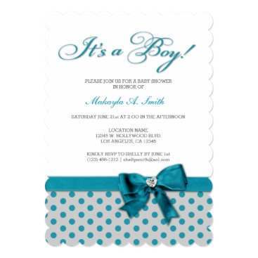 Teal Blue Polka-Dots It's a Boy Baby Shower Card