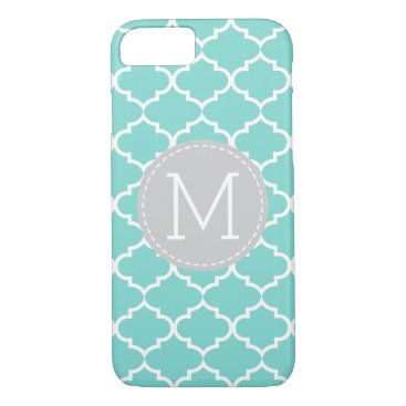 Teal Blue Quatrefoil Personalized Monogram iPhone 7 Case