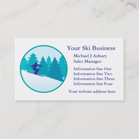 Teal Blue Snow Ski Circle Logo Business Template Business Card