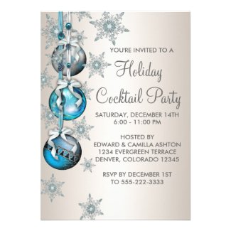 Teal Blue Snowflakes Ornaments Christmas Party Announcements