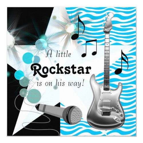 Teal Blue Zebra Rock Star Baby Boy Shower Card