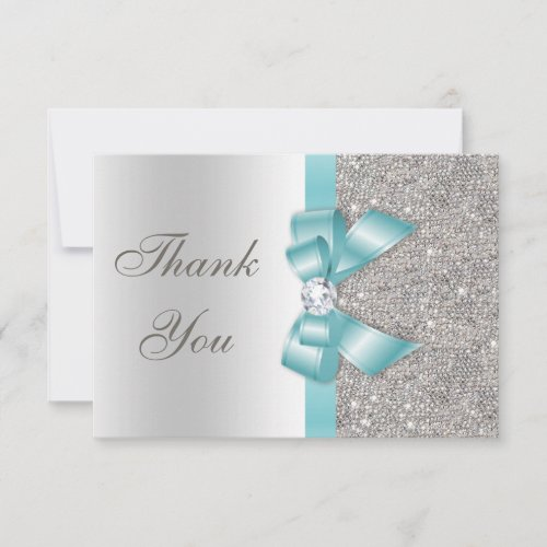 Teal Faux Bow Silver Diamonds Thank You