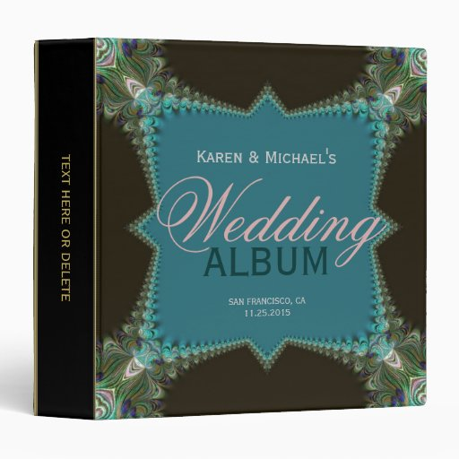 Teal Gree Fractal Peacock Lace Wedding Album Binder