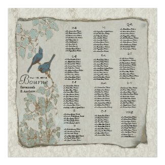 Teal Love Birds Wedding Seating Chart Poster