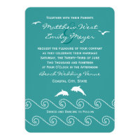 Teal Ocean Waves Wedding Invitation