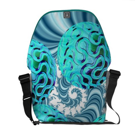 Teal Sea Forest, Abstract Underwater Ocean Messenger Bag