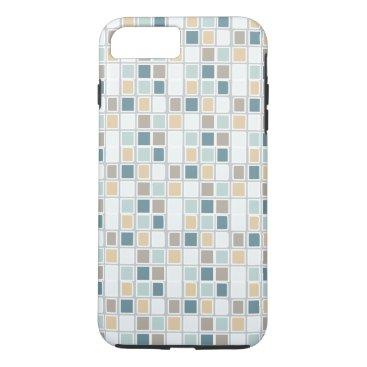 Teal Tan Gray Squares iPhone 8 Plus/7 Plus Case
