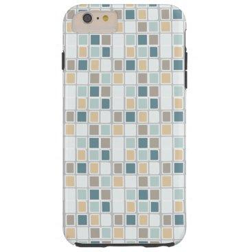 Teal Tan Gray Squares Tough iPhone 6 Plus Case