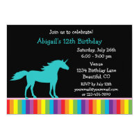 Teal Unicorn and Rainbow Girls Birthday Invitation