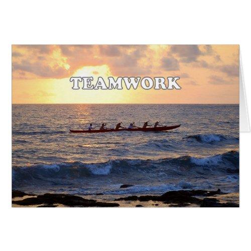 Teamwork, Hawaiian Outrigger Canoe at Sunset Card