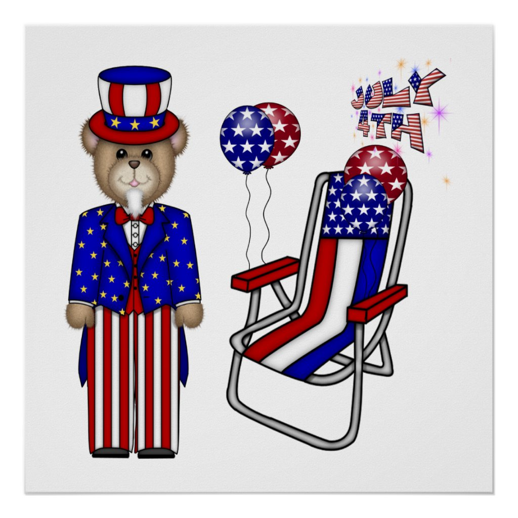 Teddies 4th of July Chair Poster