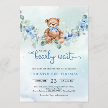 Teddy Bear Eucalyptus Wreath Boy Baby Shower Invitation