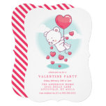 Teddy Bear Heart Balloons Valentine Party Invitation