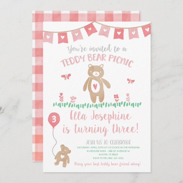 teddy bear picnic birthday party invitation zazzle com