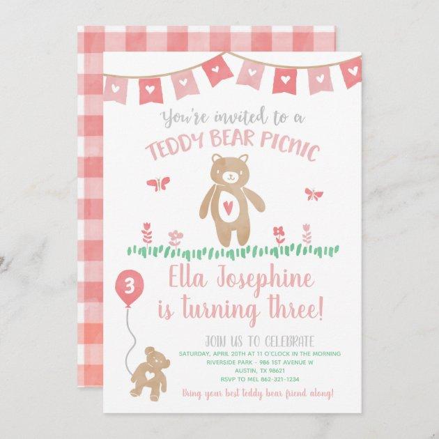 teddy bear picnic birthday party invitation zazzle com