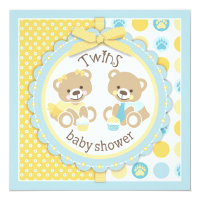 Teddy Bears Tie Tutu Twins Baby Shower Card