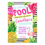 Teen Pool Party, Flamingo, Pineapple Invitation