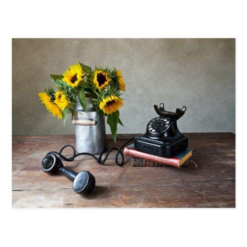 Telephone and Sunflowers Postcard