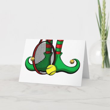 Tennis Christmas Elf Feet Holiday Card