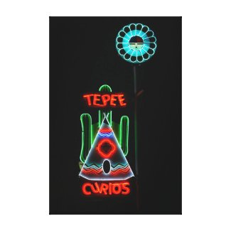 Tepee Curios Neon Sign, Tucumcari, New Mexico Stretched Canvas Print