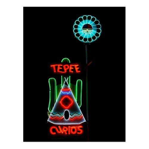 Tepee Curios Neon Sign, Tucumcari, New Mexico Postcards