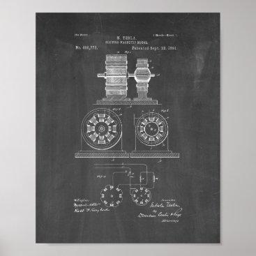 Tesla Electro Magnetic Motor Patent - Chalkboard Poster