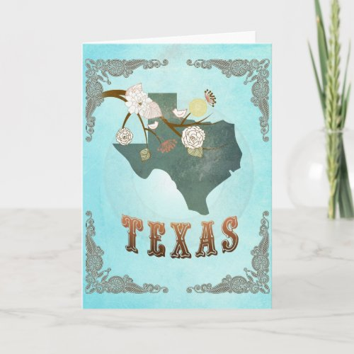 Texas Map With Lovely Birds Card