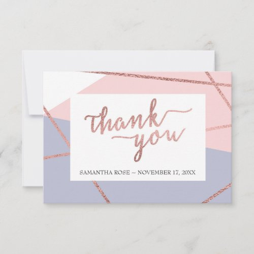 Thank You Card, Rose Gold