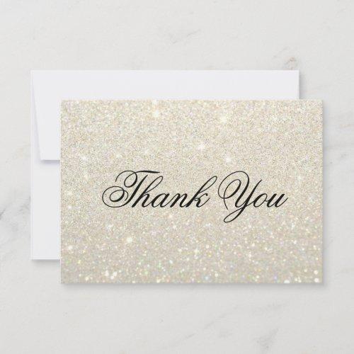 Thank You Card - White Gold Glit Fab
