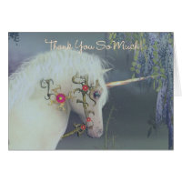 Thank You Card With Dreamy Unicorn Fantasy Card