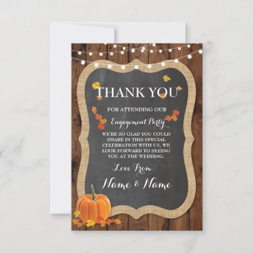 Thank You Cards Fall Pumpkin Wood Rustic Winter