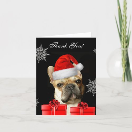 Thank You Christmas French Bulldog notecard