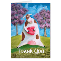 Thank You cow heart Card
