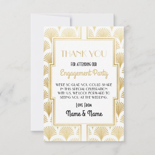 Thank You Engagement Wedding 1920s Party Cards