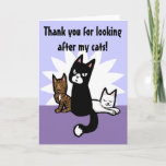 Looking After Cats Thank You Card
