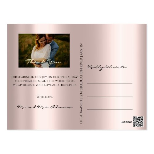 Thank You In Love Wedding Photo Gold Script Rose Postcard