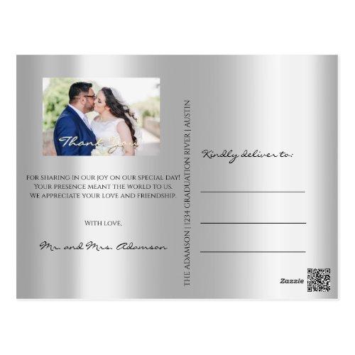 Thank You In Love Wedding Photo Gold Script Silver Postcard