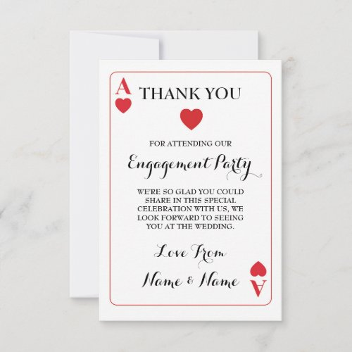 Thank You Playing Cards Ace Of Hearts Red