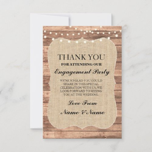 Thank You Rustic Cards Wood Burlap BBQ Engagement