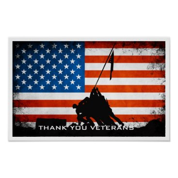Thank You Veterans - Flag and Soldier Silhouette Poster