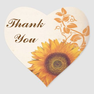 thank you wedding sunflower stickers