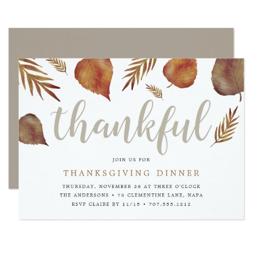 Thankful Foliage | Thanksgiving Dinner Invitation