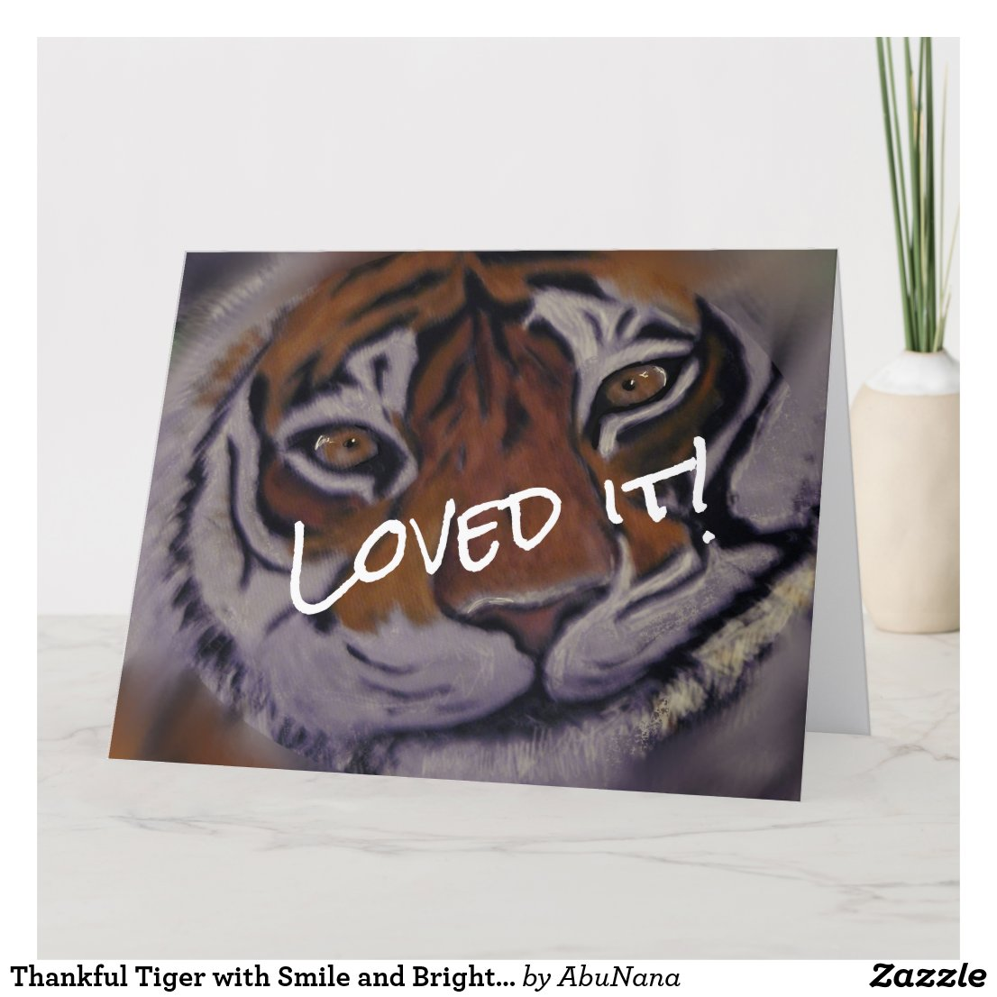 Thankful Tiger with Smile and Bright Eyes Thank You Card
