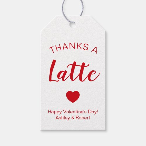 Thanks a Latte Coffee Tags for Valentine's Day Tag