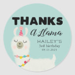 ❤️ Thanks A Llama Birthday Party Favor Classic Round Sticker
