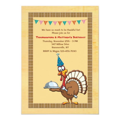 Thanksgiving Birthday Turkey Invitation