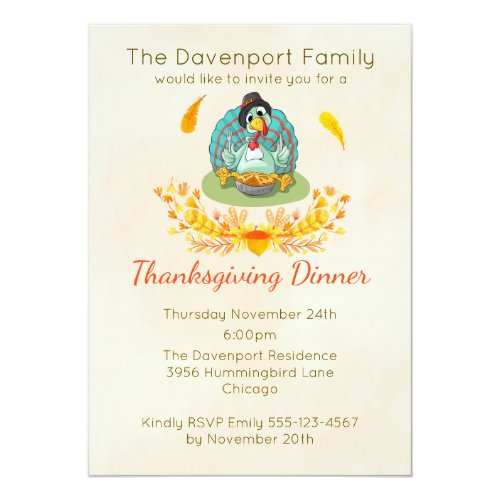Thanksgiving Dinner Party Turkey Eating Pie Invitation