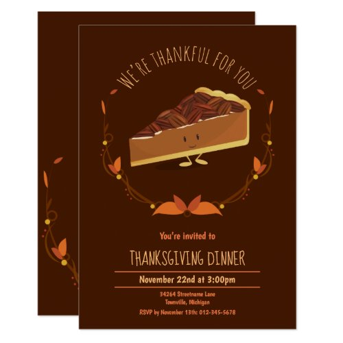 Thanksgiving Holiday Happy Pecan Pie Invitation