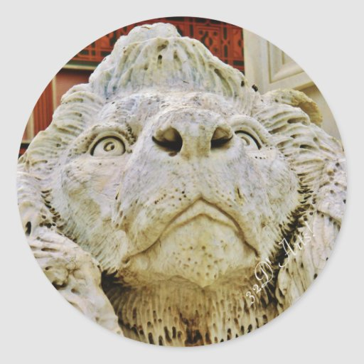 The Aloof Lion of Massa, Round Sticker, Glossy