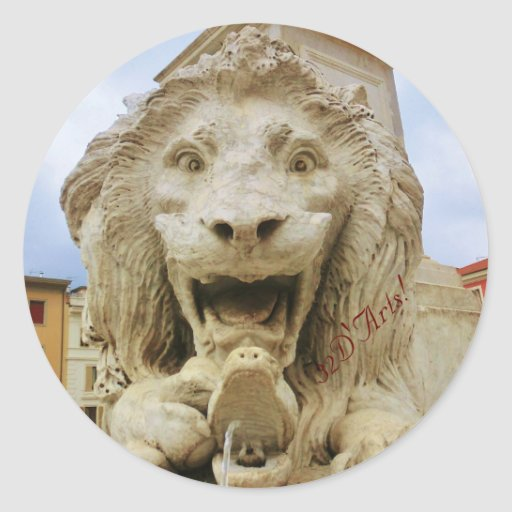 The Bold Lion of Massa, Round Sticker, Glossy
